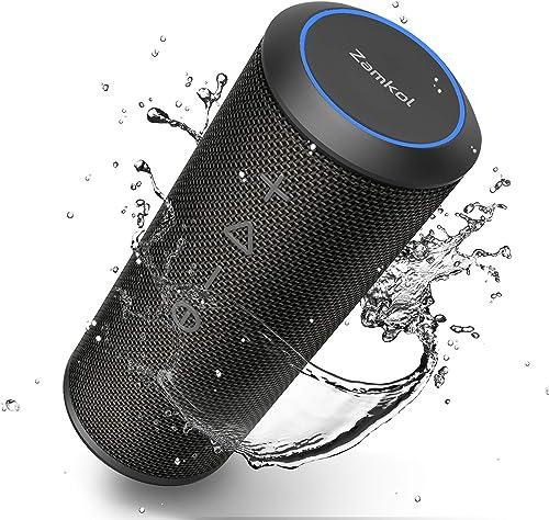 Zamkol Enceinte Bluetooth Portable 24W Waterproof Haut-Parleur Bluetooth Enceinte d'extérieur sans Fil, 360° HD Bass ...