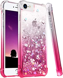 Ruky iPhone 6 6S 7 8 Case, iPhone 6s Glitter Case, Gradient Quicksand Series Bling Flowing Liquid Floating TPU Bumper Cushion Protective Girls Women Case for iPhone 6 6s 7 8 4.7 inches, Gradient Pink