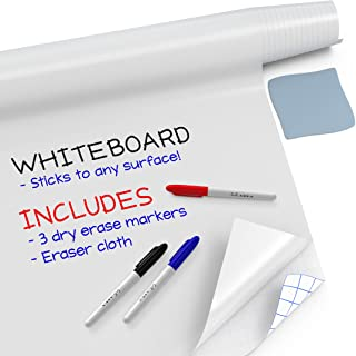 """Kassa Large Whiteboard Wall Sticker Roll - 17.3"""" x 78? (6.5 Feet) - 3 Dry Erase Board Markers Included - Adhesive White Bo..."""