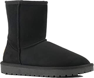 Lanyani Women's Vegan Winter Boots Waterproof Classic Faux Sheepskin Warm Mid Calf Snow Boots