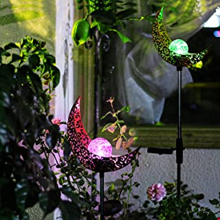 INSOME 2 Pack Solar Light Outdoor Decorative, Moon with Sun Decor, le Glass Globe Metal Garden Stake Light, Waterproof for...