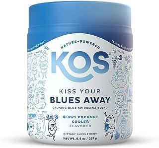 KOS Kiss Your Blues Away - Organic Calming Blue Spirulina Blend - Anxiety, Stress Relief Supplement - Reishi, Ashwagandha,...