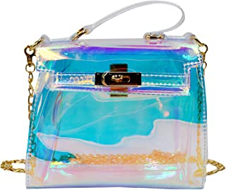 LABANCA Clear Transparent Tote Bag Hologram Handbag Chain Shoulder Bag Leisure Beach Bag