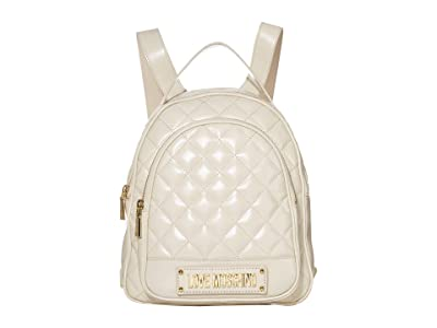 LOVE Moschino Shinny Quilted Backpack (Ivory) Backpack Bags