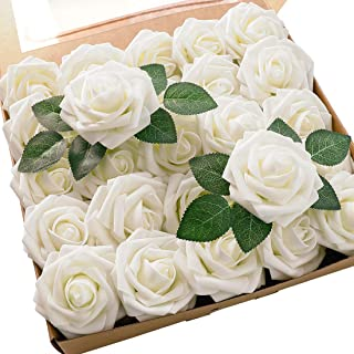 Floroom Artificial Flowers 25pcs Real Looking Foam Ivory Fake Roses with Stems for DIY Wedding Bouquets White Bridal Showe...