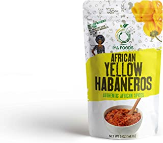 Iya Foods African Yellow Habaneros 5 ounces, Kosher Certified, No Preservatives, No Added Color, No Additives, No MSG ( Yellow Pepper)…