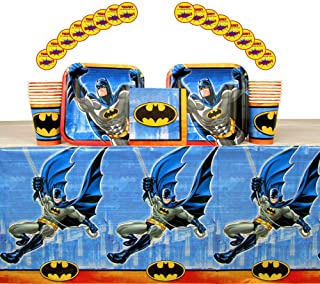 Batman Party Supplies Pack for 16 Guests: Stickers, Dessert Plates, Beverage Napkins, Cups, and Table Cover