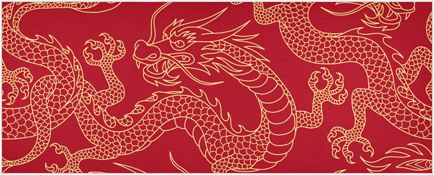 OFFicial mail order Women's Warm Scarf Chinese Dragons On Gold Outlines Fighting Ex Ranking TOP19