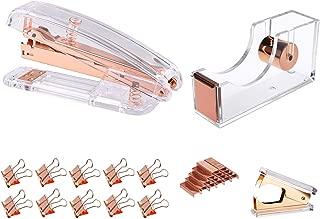 Modernlife Rose Gold Acrylic Stapler Bundle, Stapler and Staple Remover, Tape Dispenser, with 1000 Pcs Rose Gold Staples, 10 Pcs Binder Clips