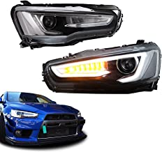 MOSTPLUS LED Headlights Halo Assembly Front Lamp fits for Mitsubishi Lancer EVO 10 2008-2018