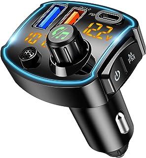 Criacr V5.0 Bluetooth FM Transmitter for Car, QC3.0+Type-C PD 18W USB C Fast Charger, LED Backlit Wireless Bluetooth FM Ra...