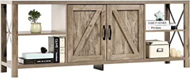 Farmhouse TV Stand Barn Door Entertainment Center, Modern Wood TV Console Table with Storage Cabinets and Shelves for TVs Up