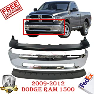 New Front Bumper Chrome For 2009-2012 Dodge Ram 1500 Lower Valance Upper Textured Without Sport Pkg & Fog Lamp Hole Direct Replacement Primed Set of 3 CH1014102 CH1090133 CH1002387