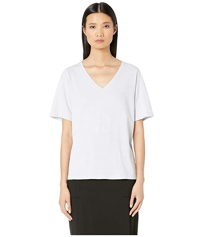 Eileen Fisher Slubby Organic Cotton Jersey V-Neck Short Sleeve Tee w/ Side Slits (India Sky) Women