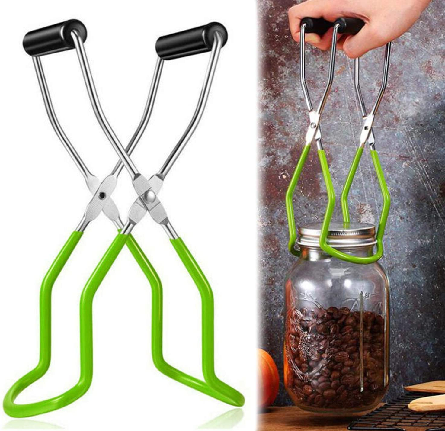 Aiden's World Canning Jar Lifter Tongs Stainless Steel Jar Lifter with Anti-Slip and Soft Rubber Grip Handle for Safe and Secure Handling (Green)