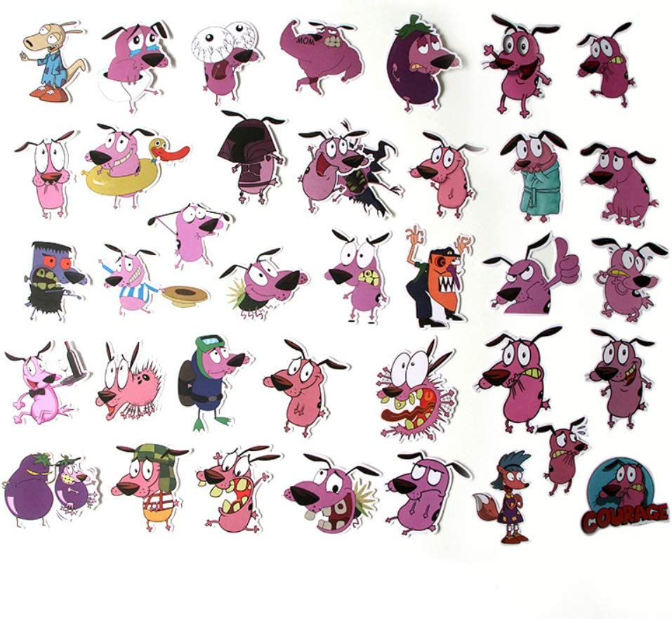 X2 Courage The Cowardly Dog Sticker Decal Window Wall book Bottle Coffee Laptop