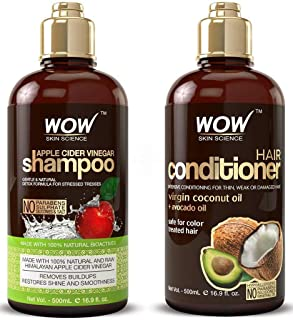 WOW Apple Cider Vinegar Shampoo and Hair Conditioner Set Increase Gloss, Hydration, Shine, Reduce Itchy Scalp, Dandruff & ...