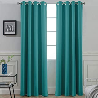 Yakamok Light Blocking Room Darkening Thermal Curtain Panels Blackout Curtains Solid Grommet Top Window Draperies/Drapes/Panels for Bedroom/Living Room 52x96 Inch Turquoise 2 Panels