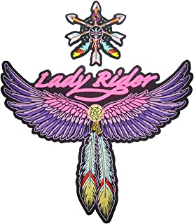 Lady Rider Small & Large Feather Wings Embroidered Back Patches for Women Biker Motorcycle Vest Jacket (Set of 2)