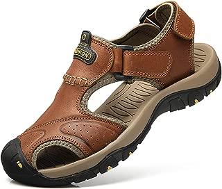 bo li xuan Sandals for Men Leather Closed Toe Sandles Men's Athletic Sports Hiking Fisherman Walking Strap Shoes