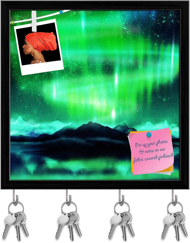 Artzfolio Northern Lights Aurora Borealis D4 Key Holder Hooks   Notice Pin Board   Black Frame 20 X 20Inch