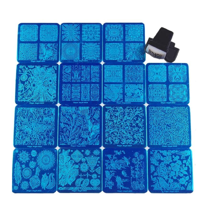第日曜日多年生FingerAngel ネイルイメージプレートセット ネイルプレート正方形15枚 スタンプ スクレーパー カードバッグ付き ネイルサロンも自宅も使えるネイルプレート