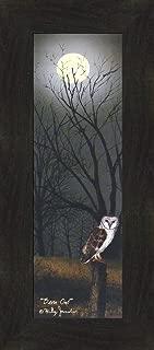 Home Cabin Décor Barn Owl by Billy Jacobs 10x22 Midnight Nightime Full Moon Fence Post Autumn Fall Seasons Framed Folk Art Print Picture (2