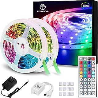 WenTop LEDテープライトスーツ 両面テープ SMD 5050 防水ledテープ 10m 正面発光ledテープ led RGB 44K リモコンと12v電源 高輝度 切断可能 明るいライト (2x5M)