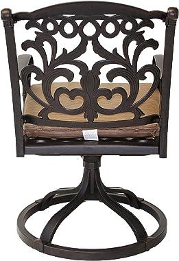 theWorldofpatio Mandalay Cast Aluminum Powder Coated 7pc Outdoor Patio Dining Set 42x72 Oval Table - Antique Bronze