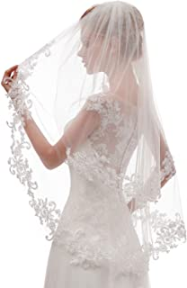 Women's Short 2 Tier Lace Wedding Bridal Veil With Comb L24