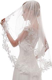 EllieHouse Women`s Short 2 Tier Lace Wedding Bridal Veil With Comb L24