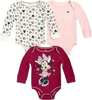 Disney Baby Girls' Minnie Mouse 3 Pack Bodysuit - Long Sleeve Thermal Onesie Bodysuit (Newborn)