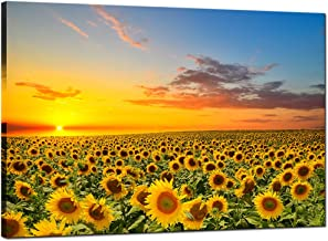 Sea Charm - Sunflower Canvas Wall Art Warm Color Sunrise in The Field Landscape Painting Picture Print Art for Living Room Decor,Framed and Ready to Hang