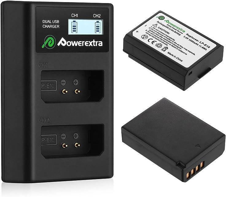 Powerextra Baterías Canon LP-E10 Dual USB Cargador con Pantalla LCD para Canon EOS Rebel T3 T5 T6 Kiss X50 Kiss X70 EOS 1100D EOS 1200D EOS 1300D EOS 4000D EOS 3000D EOS 2000D Cámara Digital