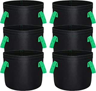 Grow Bags 5 Gallon 6-Pack Heavy Duty Thickened 400 GSM Fabric Pots for Planting Vegetables Fruit Flower Breathable Plant P...