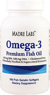 オメガ3 プレミアム フィッシュオイル - Omega-3 Premium Fish Oil (マドレラブ - Madre Labs) フィッシュゼラチンソフトジェル 100錠入り 並行輸入品 [並行輸入品]