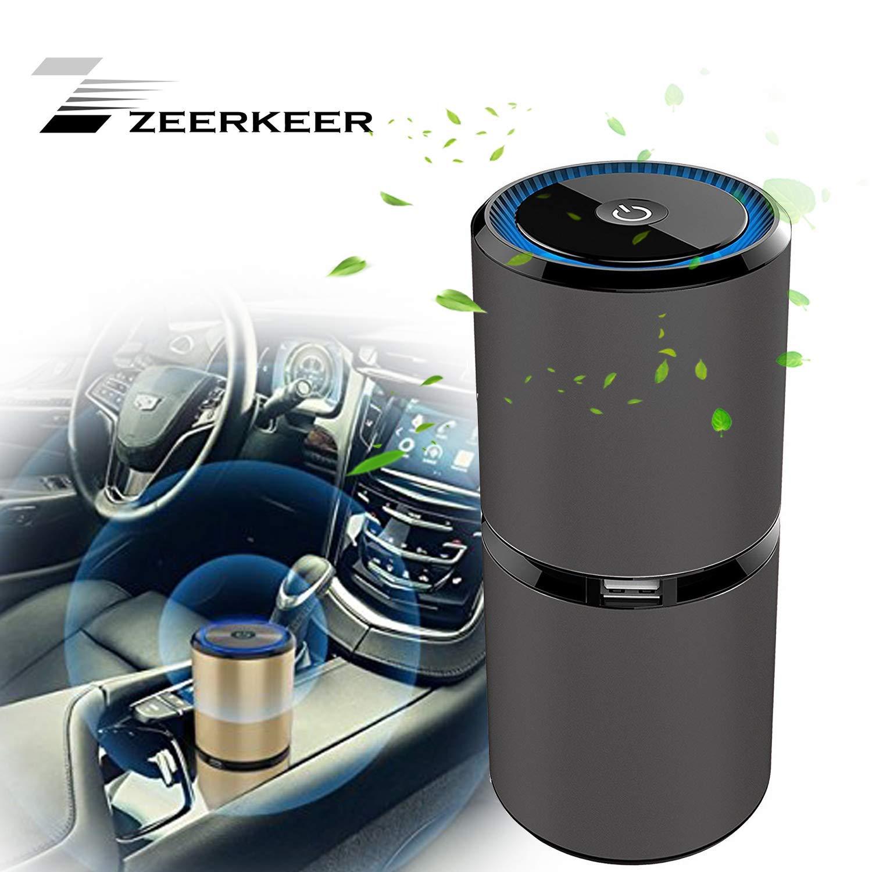 Zeerkeers purificador de Aire, Mini generador de ozono portátil Recargable USB de desinfección de Aire, Filtro de Aire para detectar alergias, Polvo, Humo, caspa, Olor, PM2.5: Amazon.es: Coche y moto
