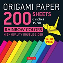 """Origami Paper 200 sheets Rainbow Colors 6"""" (15 cm): Tuttle Origami Paper: High-Quality Double Sided Origami Sheets Printed..."""
