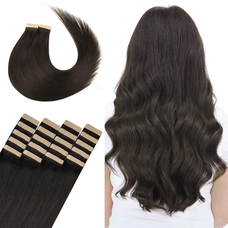 WENNALIFE Tape Ranking TOP20 in Human Hair Dedication Extensions Dark Re Brown 20pcs 50g