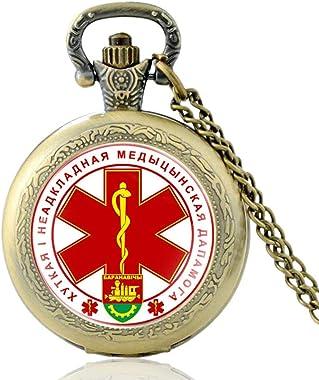 ZDANG La république de biélorussie Montre de Poche Hommes Femmes Technicien médical d'urgence Pendentif Heures Horloge-Br