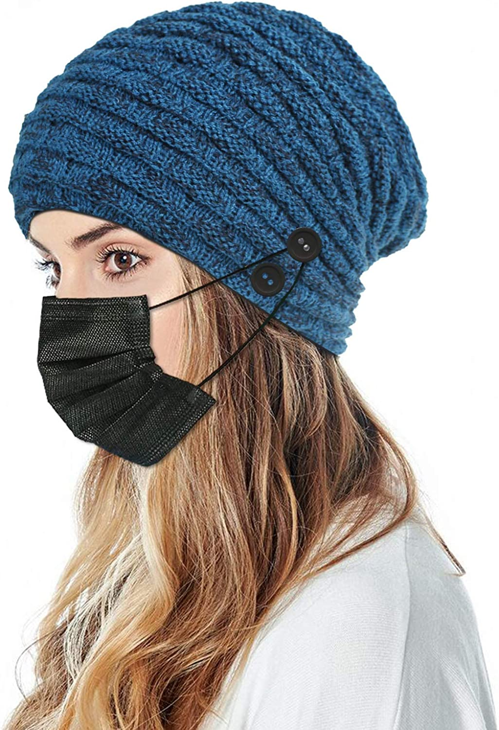 LUCKYBUNNY Women Men Fleece Beanie with 4 Buttons to Hold Face Cover, Winter Warm Knit Hat Skull Cap for Ear Protection