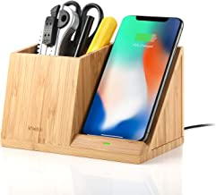 Veelink Bamboo Wireless Charger with Organizer Wood Wireless Charging Station for iPhone 11 X 8 Plus and Samsung S7 Edge S8 Plus S9 Plus Note 8