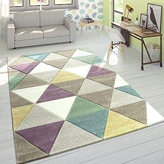 Alfombra Diseño Moderna Perfil Contorneado Colores Pastel