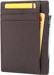 Women's RFID Blocking Minimalist Card Holder Slim Front Pocket Wallet with ID Window
