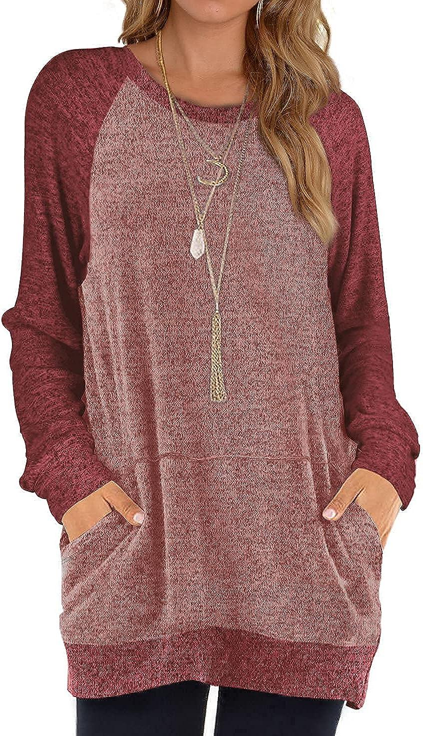 Weeso Sweatshirts for Women Oversized Long Sleeve Tunic Tops Crewneck