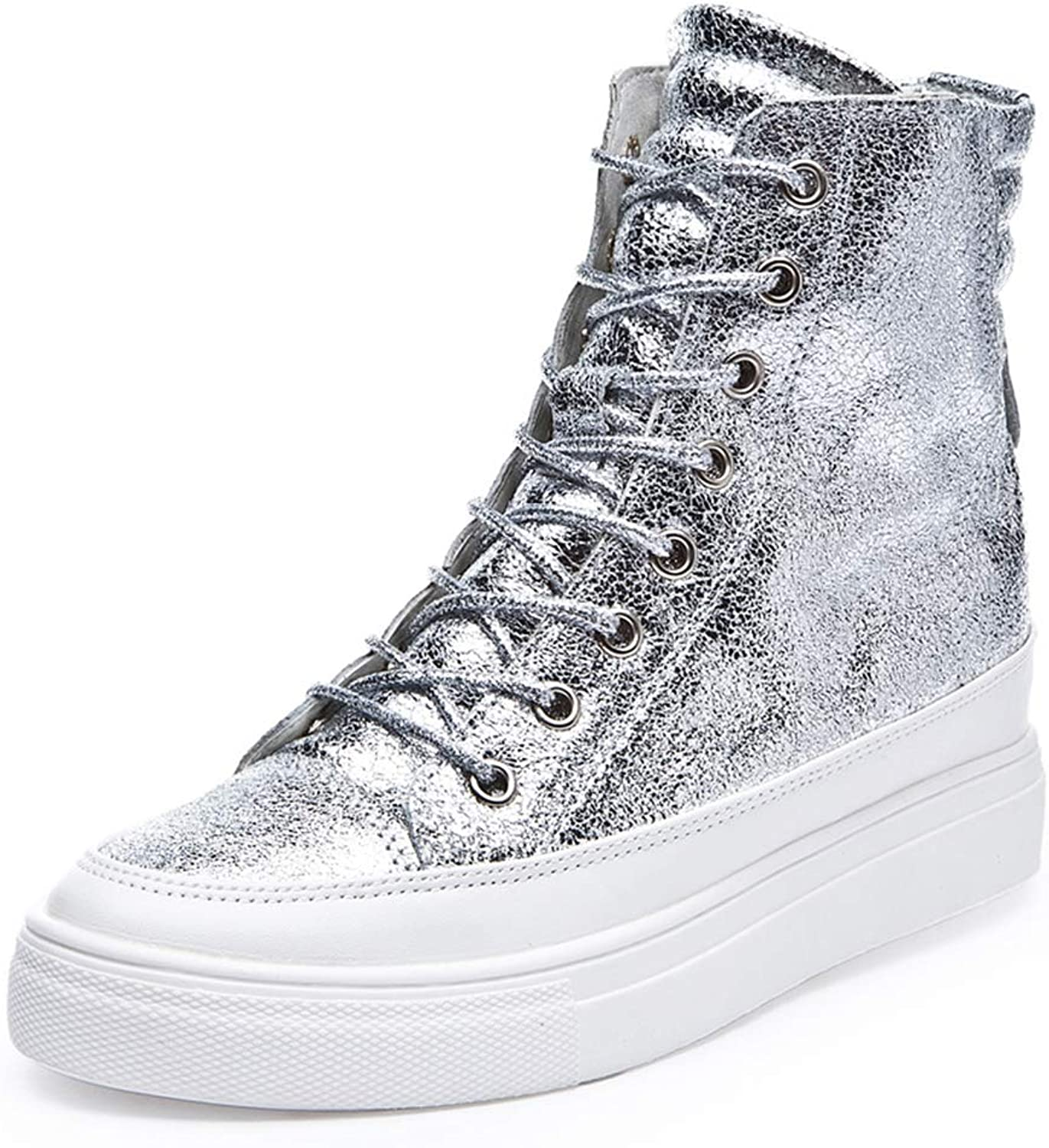Women Faux Leather Casual shoes High Top Wedges shoes Height Increasing Platform Boots Ladies High Heels Trainers