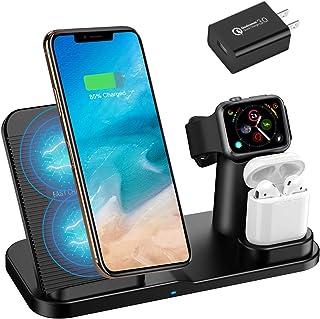 Qi 急速ワイヤレス充電器 Hoosoome ワイヤレスチャージャー 置くだけ充電 2019年モデル発売 iPhone/Apple Watch/Airpods充電器「iPhone X/XS/ XR/XS Max/ 8/8 Plus 最大7.5W急速充電対応」「Galaxy S9/S9 Plus/Note8/S8/S8 Plus/S7/S7 Edge/S6 Edge Plus 最大10W対応」 その他Qi対応機種も適用 (アダプター付き)