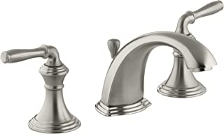 Kohler Devonshire K-394-4-BN 2-Handle Widespread Bathroom Faucet with Metal Drain Assembly in Vibrant Brushed Nickel