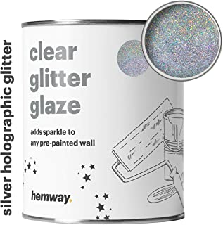 Hemway Clear Glitter Paint Glaze (Silver Holographic) 1L/Quart for Pre-Painted Walls Acrylic, Latex, Emulsion, Ceiling, Wood, Varnish, Dead flat, Matte, Soft Sheen, Silk (CHOICE OF 25 GLITTER COLOURS)