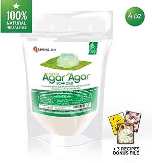 Agar Agar Powder: Vegetable Gelatin 100% from Red Algae, Dietary Fiber Thickener   Vegan, Vegetarian, Non-GMO, Gluten-free, Kosher, Halal   Desserts, Snacks for Kids and Pets   LIVING JIN [4/12/28oz]
